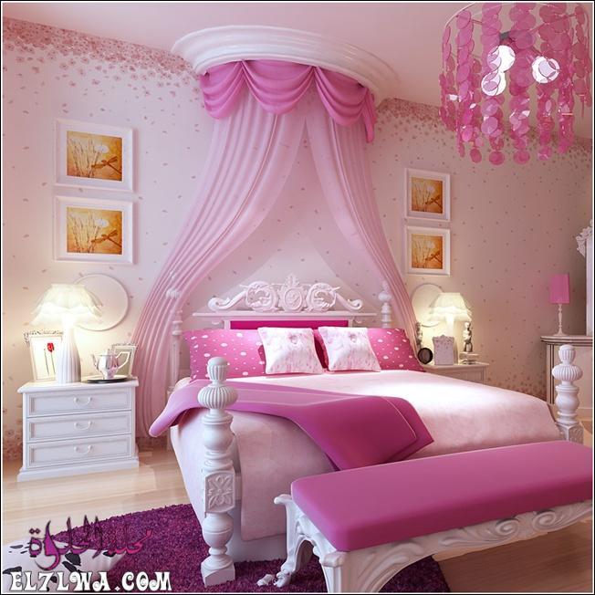 غرفة نوم بتصميم فى منتهى الجمال والشياكة وتتكون من سرير و2 كمودينو فخم جداً وشيك وستارة شيفون رائعة باللون الروز والبينك 1 - ديكورات غرف نوم بنات 2021 صور ديكور غرف نوم للبنات