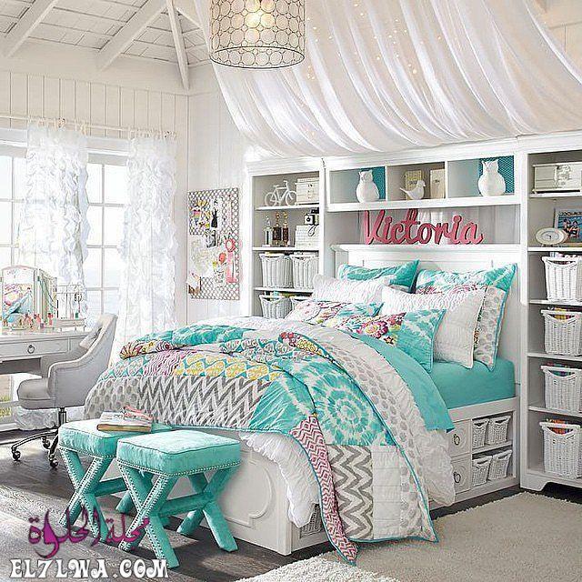 غرفة نوم بتمصميم رائع وجديد مع فكرة الارف الجانبية والعملية للسرير 1 - ديكورات غرف نوم بنات 2021 صور ديكور غرف نوم للبنات
