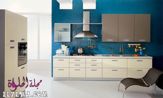 ديكور مطابخ باللون الأزرق