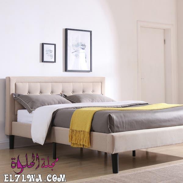 Classic Brands Mornington Upholstered Platform Bed Metal Frame with Wood Slat Support d7d68d43 d8dd 4445 8dbe 5bf45beb6fb4 600 - أثاث غرف نوم 2021 صور أثاث غرف نوم