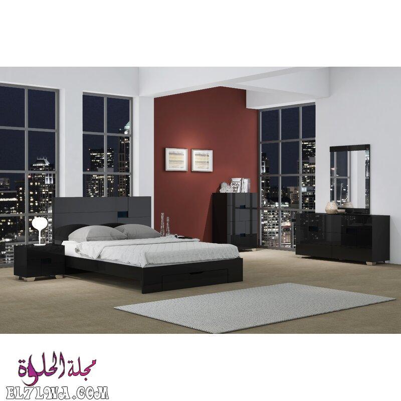 HaileePlatformSolidWood4PieceBedroomSet - أثاث غرف نوم 2021 صور أثاث غرف نوم