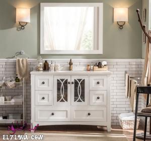 صور أشكال دواليب حمامات خشب حديثة 2021 م