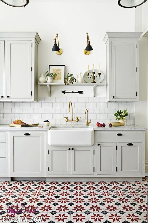kitchen patterned tile floor 1551713212 - ديكورات مطابخ 2021 صور مطابخ