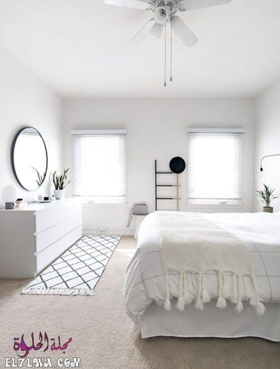 دهان غرفة نوم ابيض - احدث الوان الدهانات للشقق الصغيره 2021