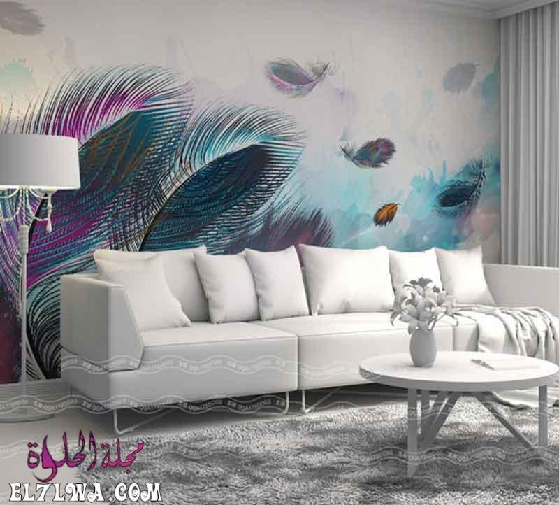 3D wallpaper for living room design 6 - احدث الوان الدهانات للشقق الصغيره 2021