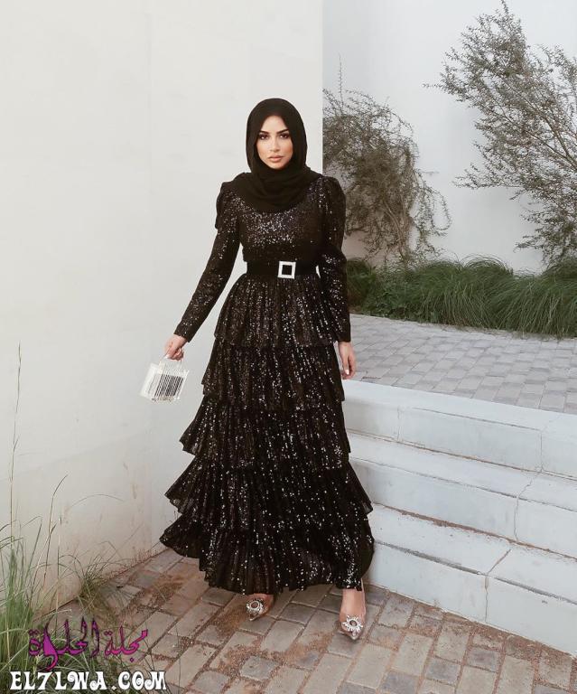 فساتين سواريه باللون الأسود للمحجبات 2021 محتشمة