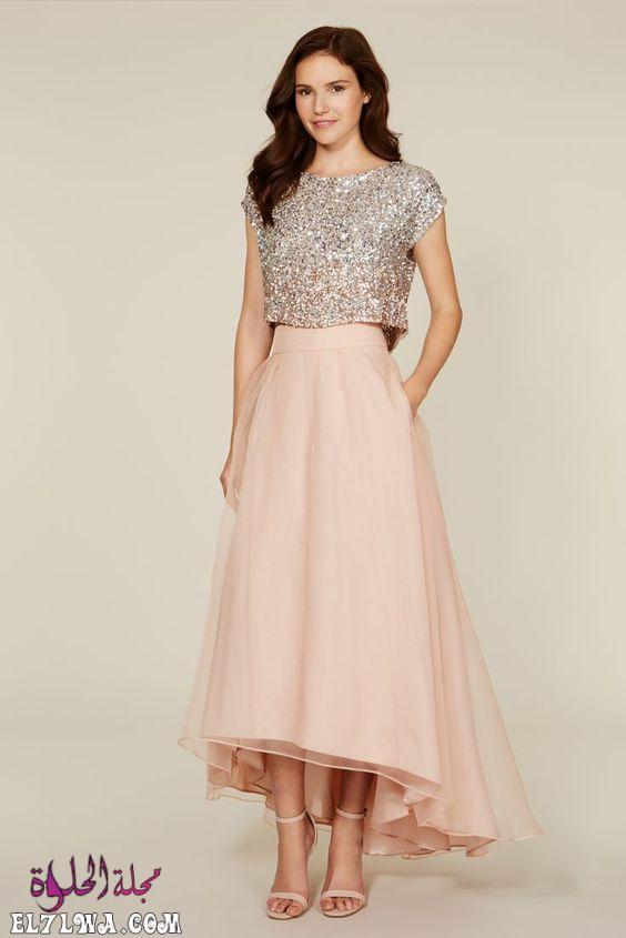 فستان سهرة من قطعتين موضة ٢٠٢١