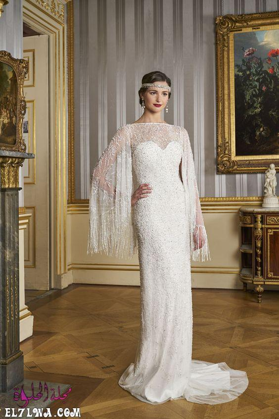 فستان زفاف بأكمام من التل المزين بالشراشيب