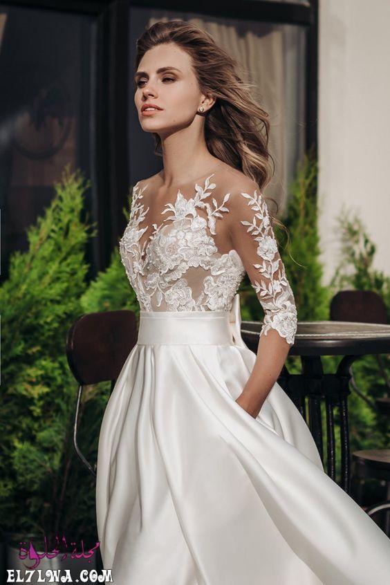 فستان زفاف بأكمام قصيرة من التل المنقوشبالأزهار