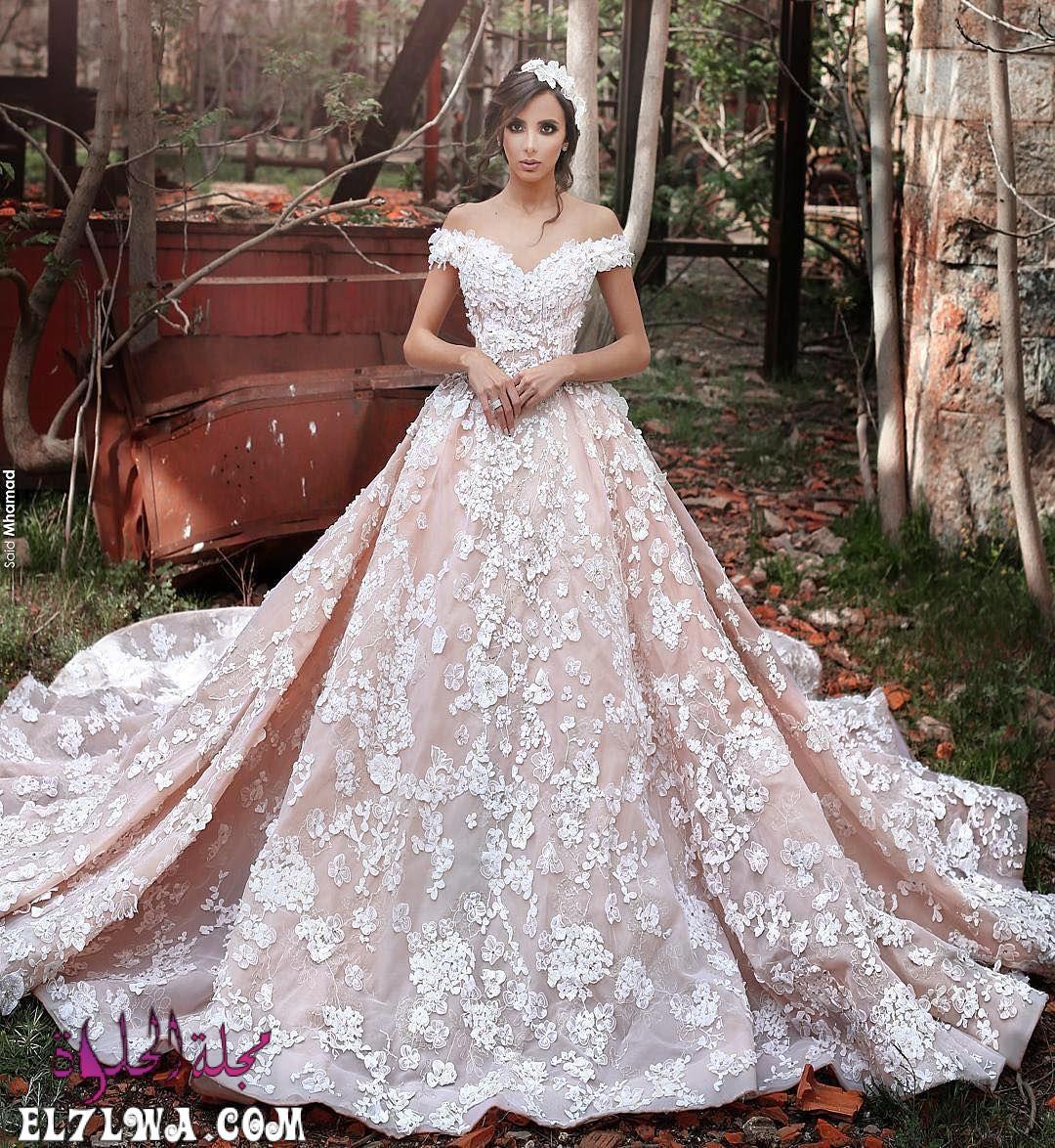 فساتين زفاف دانتيل منفوشة 2021 أوف شولدر